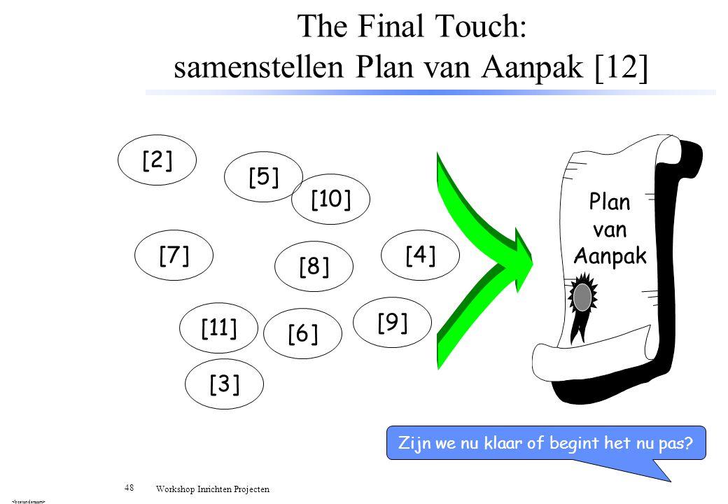 The Final Touch: samenstellen Plan van Aanpak [12]